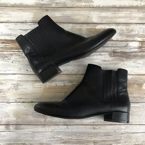 Marc Fisher Black Leather Ankle Chelsea Boots